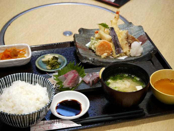 志みず創彩のお刺身と天ぷらの定食