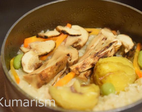植木温泉 桐乃湯「栗と松茸の釜飯」